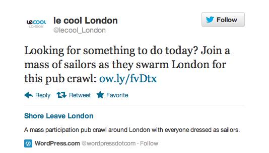 Le Cool London Tweet